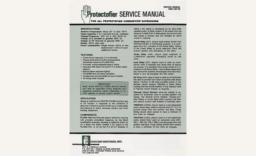 Protection Controls Inc.combustion safeguards Protectofier service manual