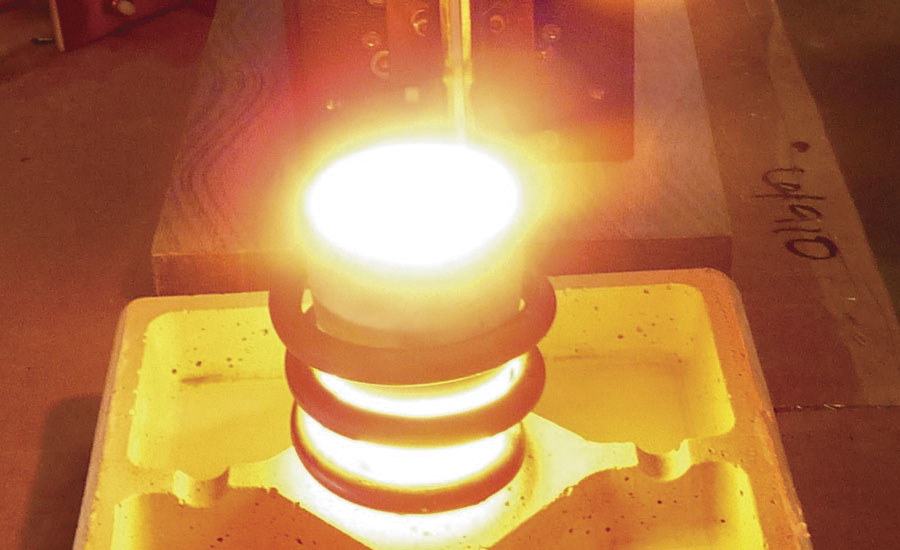 Induction heating applications include melting platinum in a ceramic crucible