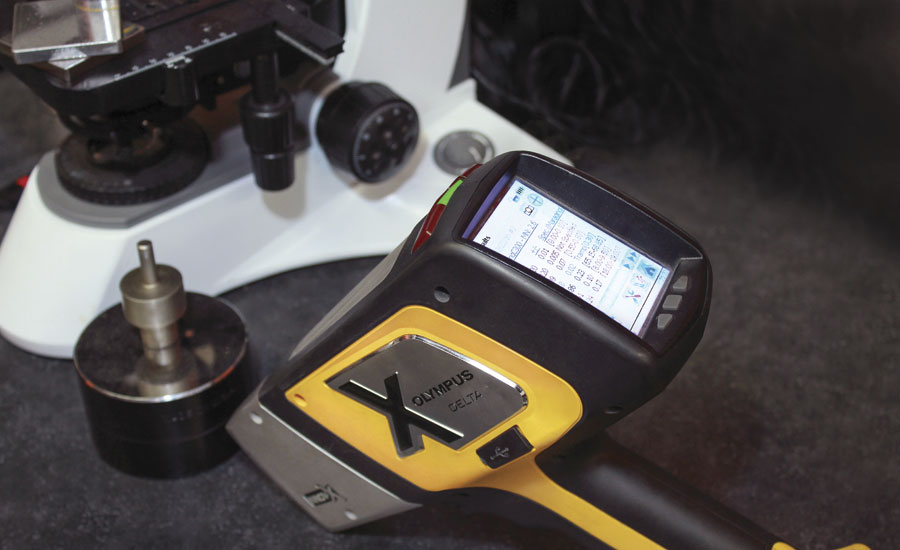 A hand-held spectrometer used by Byington Steel Treating for material identification