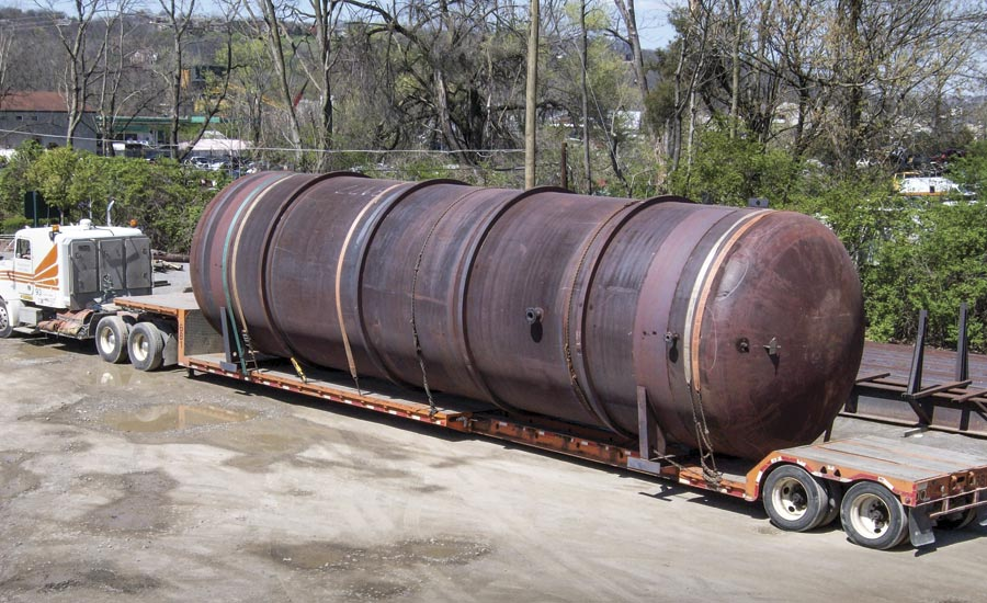 Large steel tank processed by Derrick Company