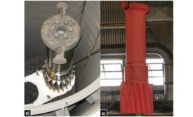 A test part in position in furnace for heating test and during transfer to the quench