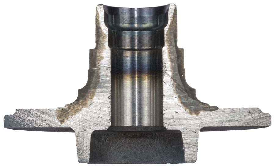 Sectioned and heat-treated wheel bearing
