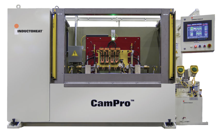 Custom induction hardening machine for camshafts