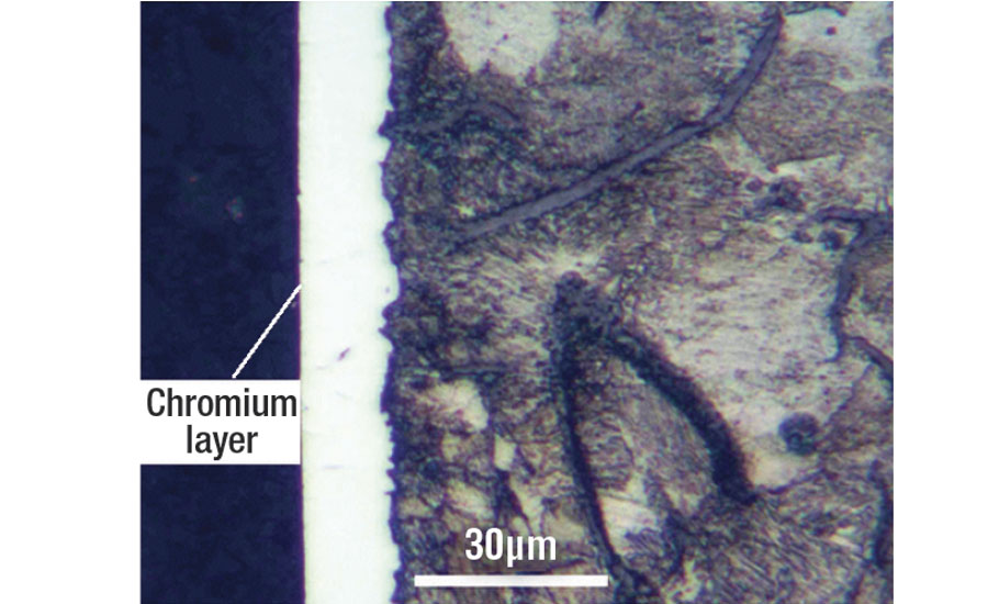 Photomicrograph of the chromium-plated G25HP cast iron