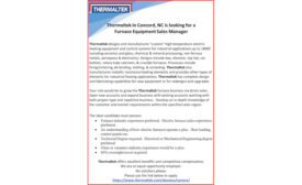 Thermaltek in Concord, NC is looking for a Furnace Equipment Sales Manager