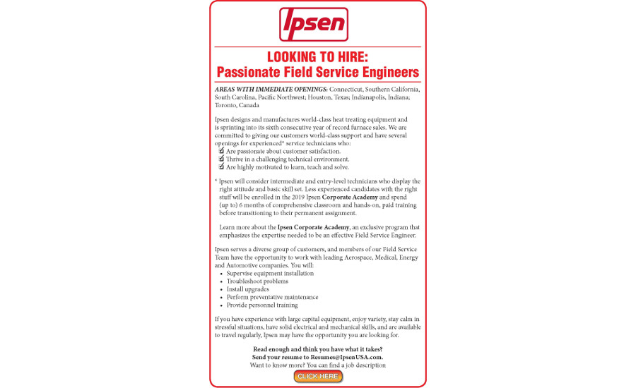 LOOKING TO HIRE: Passionate Field Service Engineers