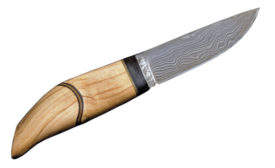 A knife made with Damascus steel