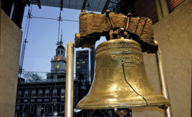 The Liberty Bell, which cracked during its first test ring